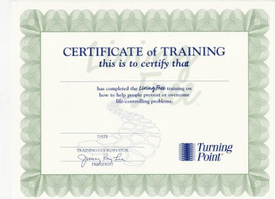 Living Free Certificate of Completion