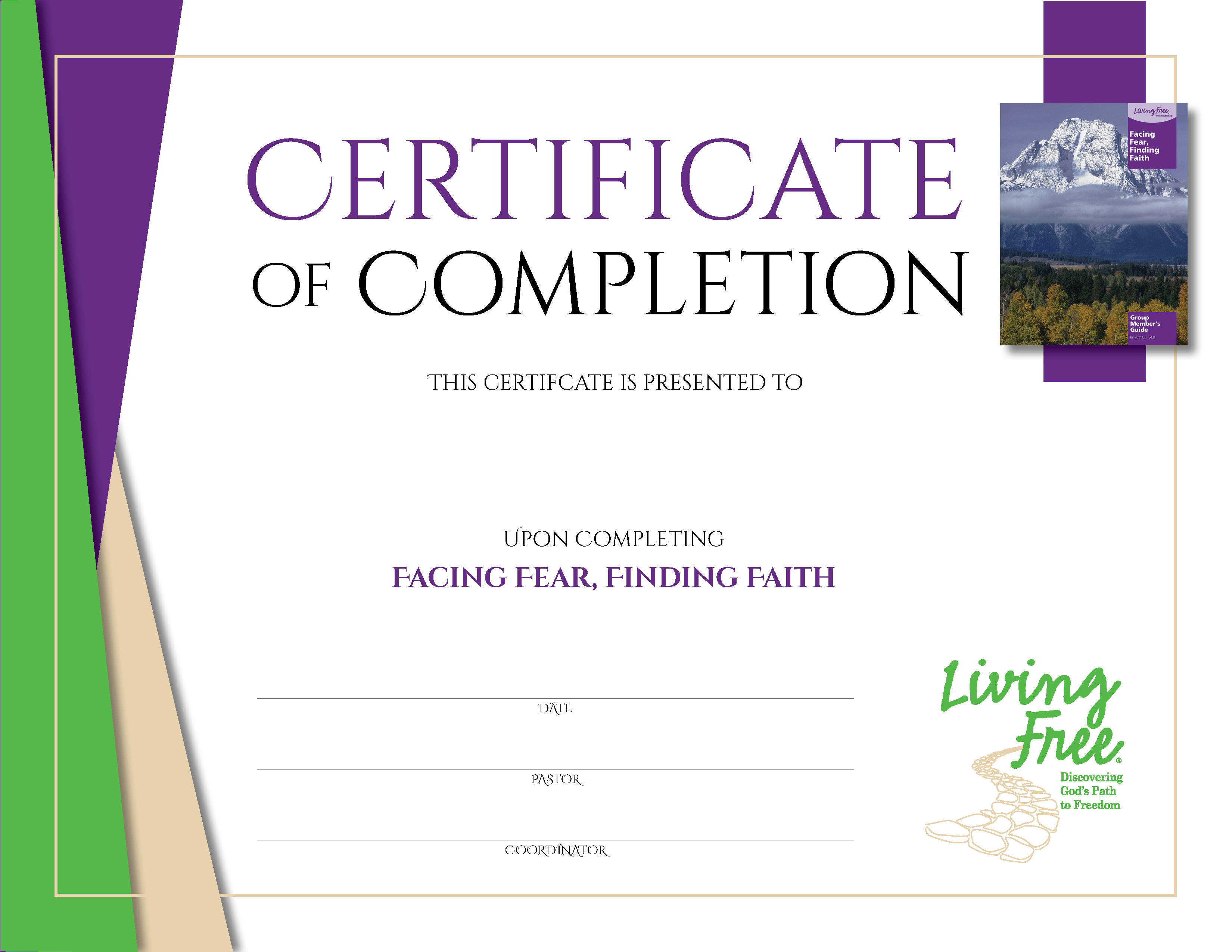 Facing Fear, Finding Faith Digital Certificate