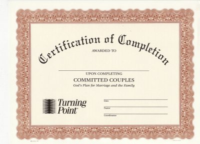 Committed Couples Certificate of Completion