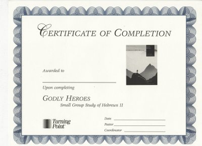 Godly Heroes Certificate of Completion
