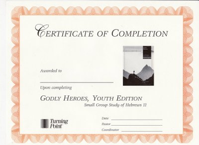 Godly Heroes, Youth Edition Certificate of Completion