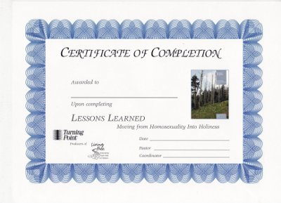 Lessons Learned Certificate of Completion
