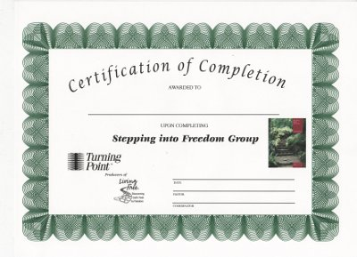 Stepping into Freedom Certificate of Completion